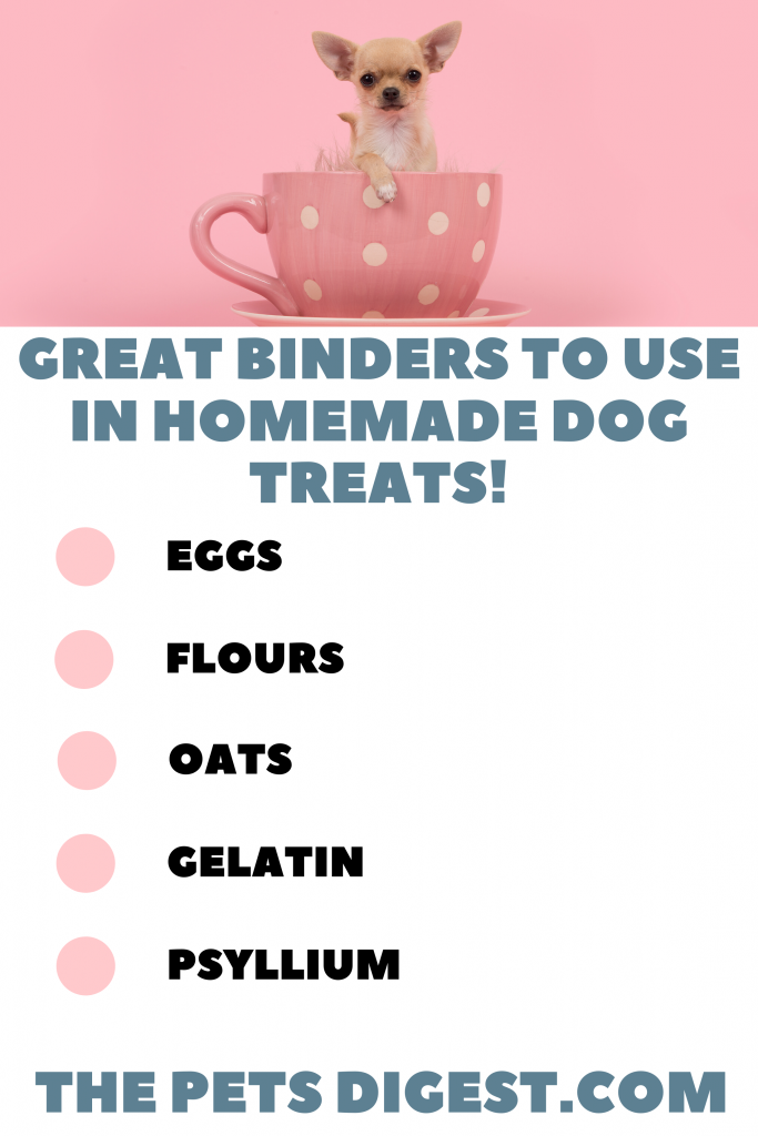 Four binders to use in dog treats